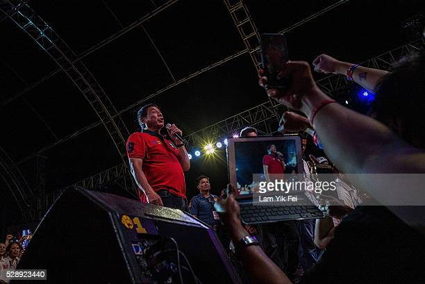 Philippine presidential candidate Rodrigo Duterte speaks during the final campaign rally ahead of Monday's election on May 7 2016 in Manila...