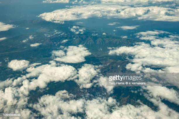 Philippine Sea, Mamburao and Abra de Ilog in Province of Occidental Mindoro in Mindoro Island in Philippines daytime aerial view from airplane daytime aerial view from airplane