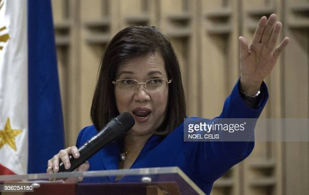 Philippine's Chief Justice Maria Lourdes Sereno gestures during Women vs Strongman Filipinas Resisting forum at the University of the Philippines in...