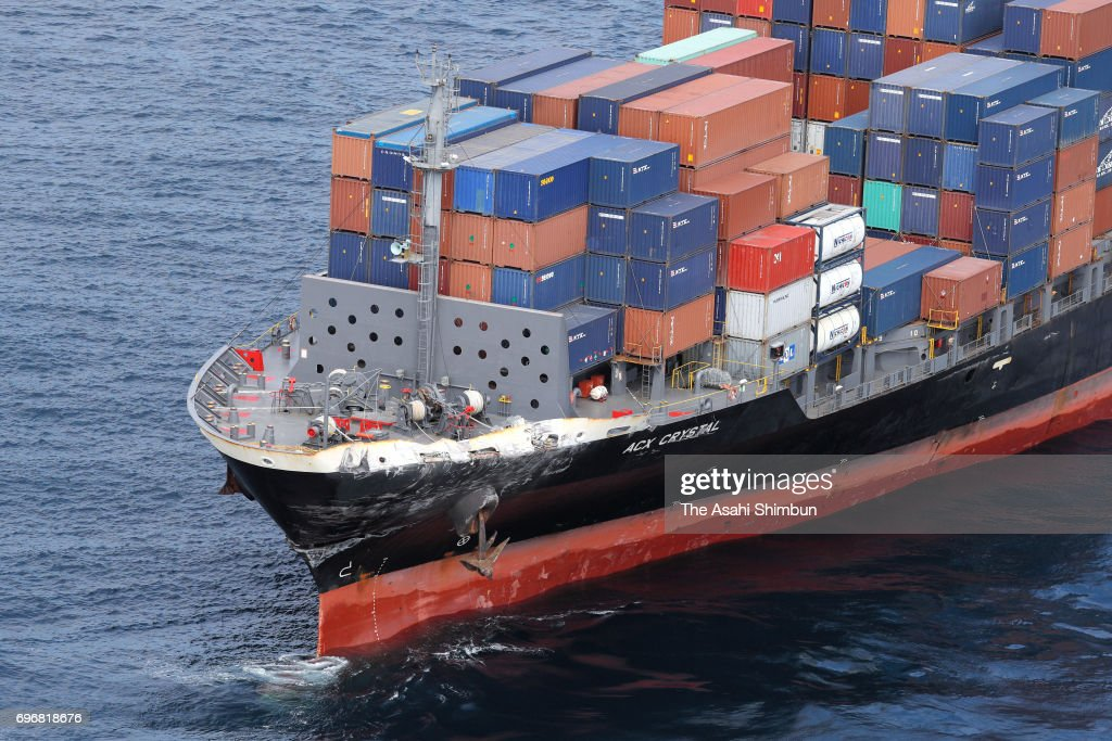Philippines container ship ACX Crystal, which bow is damaged, is seen after the collision with USS Fitzgerald on June 17, 2017 in Shimoda, Shizuoka, Japan. Seven U.S. Navy crew members are missing and three, including captain, were injured.