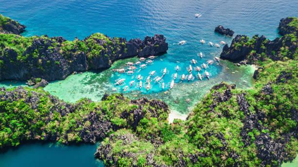 Philippines El Nido Palawan Small Lagoon Miniloc Island Panorama