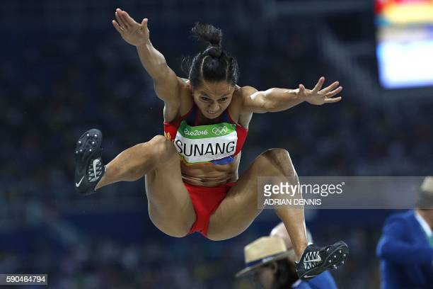 Philippines' Marestella Sunang competes in the Women's Long Jump Qualifying Round during the athletics event at the Rio 2016 Olympic Games at the...