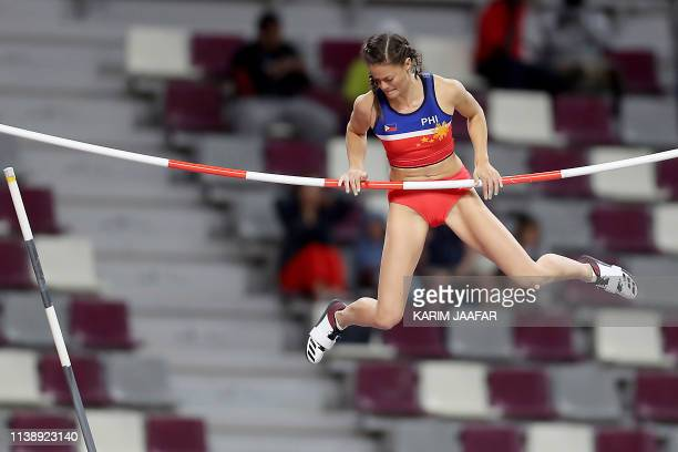 Philippines' Natalierose Uy competes during the pole vault women event during the third day of the 23rd Asian Athletics Championships at Khalifa...