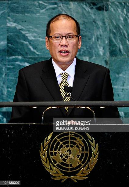 Philippines' President Benigno Aquino III addresses the 65th General Assembly at the United Nations headquarters in New York September 24 2010 AFP...