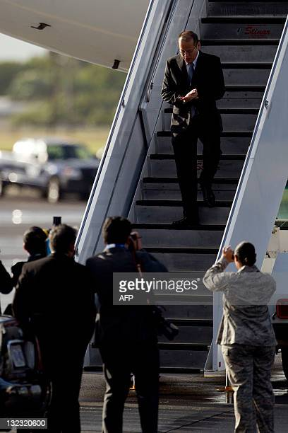 Philippines President Benigno Aquino III arrives in Honolulu, Hawaii, on November 11, 2011 to attend the Asia-Pacific Economic Cooperation Summit....