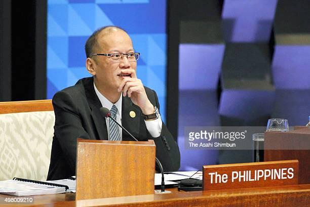 Philippines President Benigno Aquino III attends a plenary session of the Asia Pacific Economic Cooperation on November 19 2015 in Manila Philippines...
