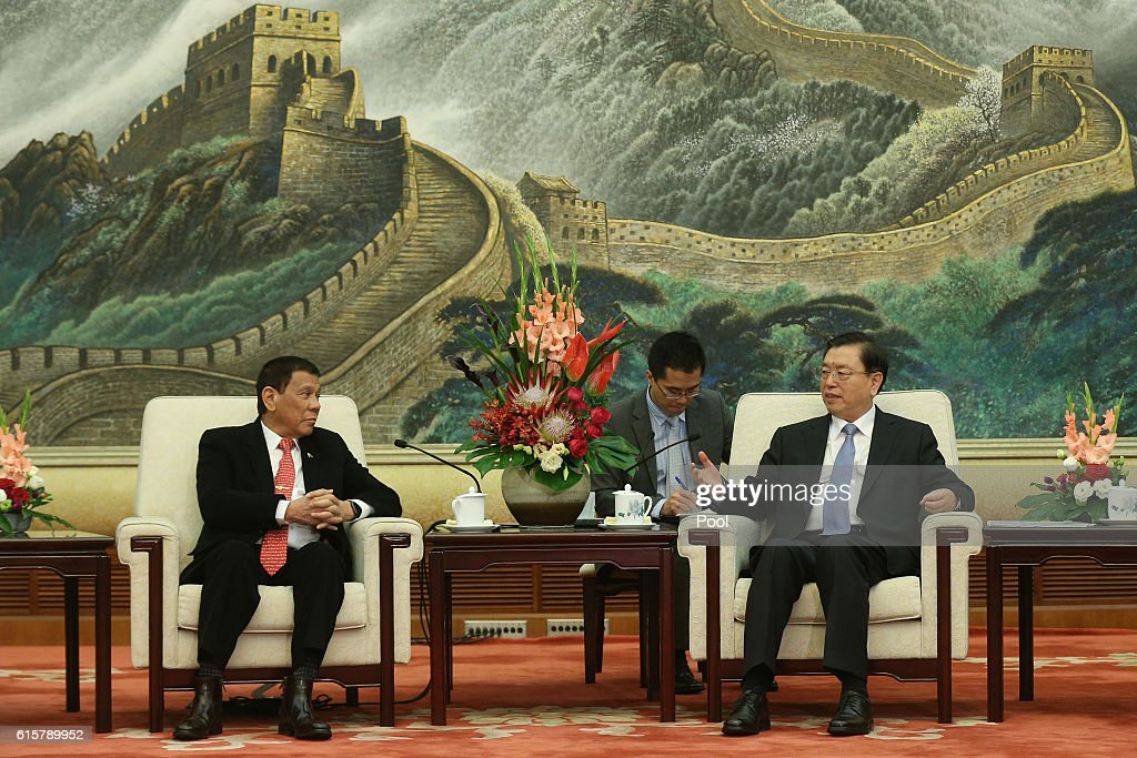 Philippines President Rodrigo Duterte (L) and Zhang Dejiang, Chairman of the Standing Committee of the National People's Congress of China hold a meeting at the Great Hall of the People on October 20, 2016 in Beijing, China. Philippine President Rodrigo Duterte is on a four-day state visit to China, his first since taking power in late June, with the aim of improving bilateral relations.