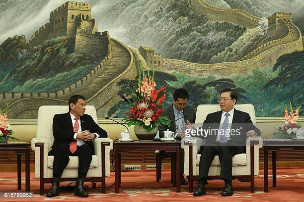 Philippines President Rodrigo Duterte and Zhang Dejiang Chairman of the Standing Committee of the National People's Congress of China hold a meeting...