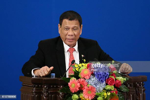 Philippines President Rodrigo Duterte makes a speech during the Philippines China Trade and Investment Fourm at the Great Hall of the People on...