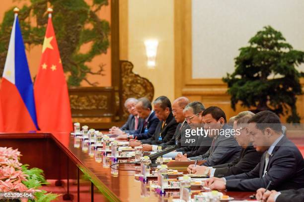 Philippines President Rodrigo Duterte speaks during his bilateral meeting with Chinese President Xi Jinping during the Belt and Road Forum for...