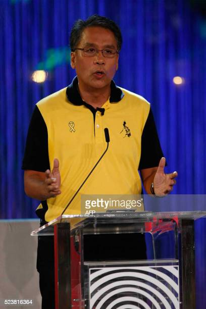 Philippines' presidential candidate former interior secretary Mar Roxas speaks during the presidential debate at the Phinma University of Pangasinan...