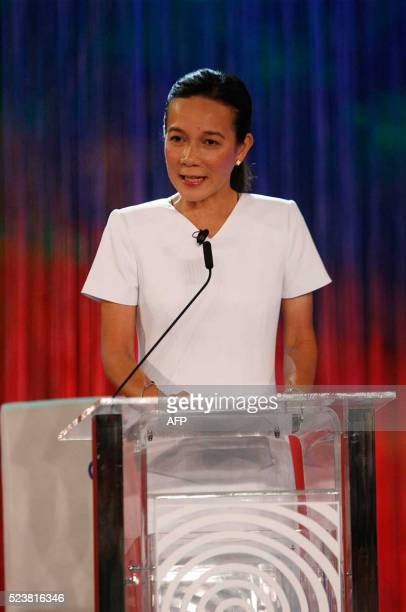 Philippines' presidential candidate Senator Grace Poe speaks during the presidential debate at the Phinma University of Pangasinan in Dagupan City on...