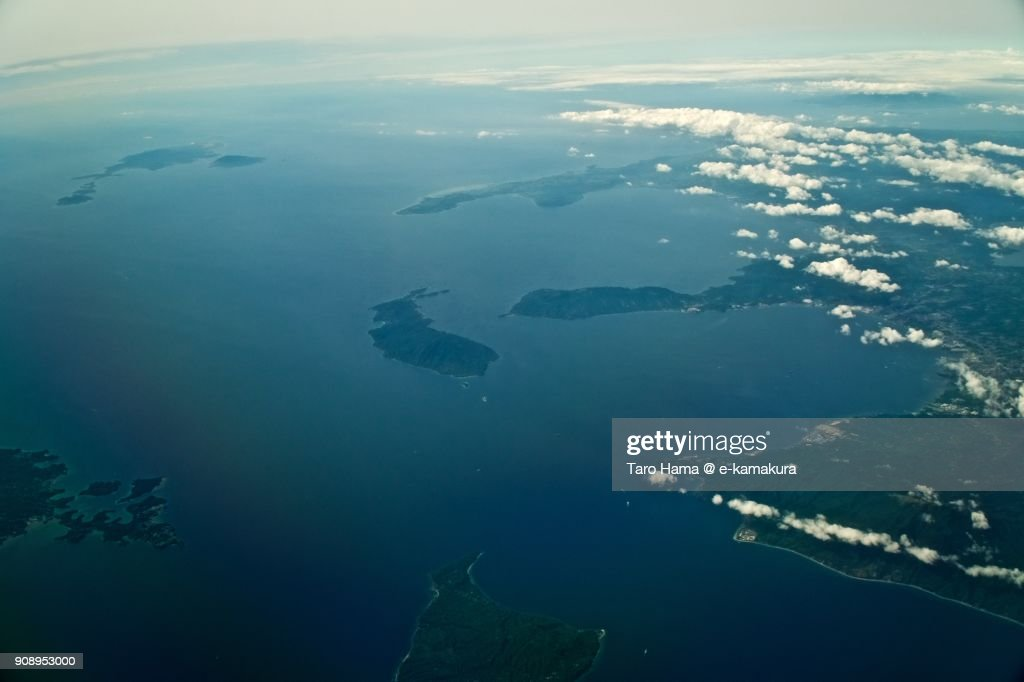 Philippines Sea and Province of Batangas in Philippines day time aerial view from airplane : Stock-Foto