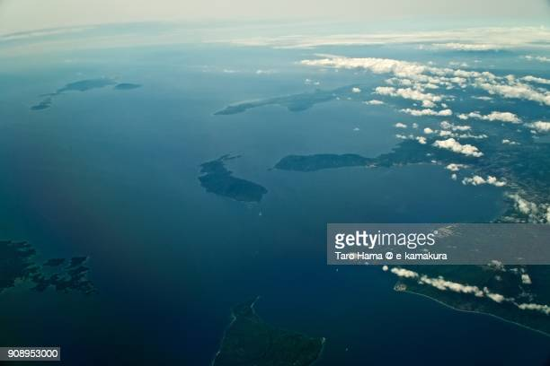 Philippines Sea and Province of Batangas in Philippines day time aerial view from airplane