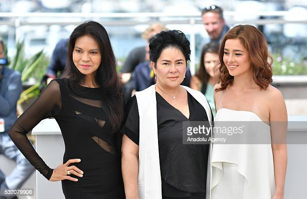 Philippino actress Maria Isabel Lopez Philippino actress Jaclyn Jose and Philippino actress Andi Eigenmann pose during the photocall for the film...