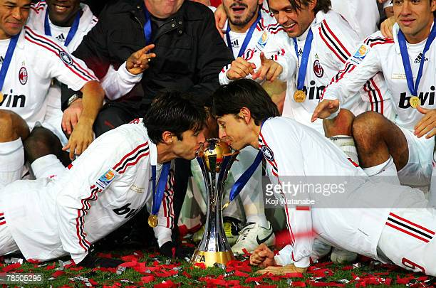 Philippo Inzaghi and Kaka of AC Milan kiss the trophy after the win the FIFA Club World Cup final between Boca Juniors and AC Milan at the...