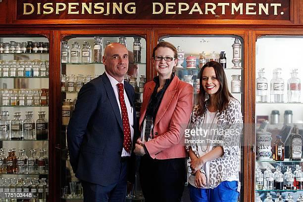 Philips ANZ Managing Director Alan McCarthy Jordana Martin and Mia Freedman pose on August 1 2013 in Sydney Australia To celebrate World...