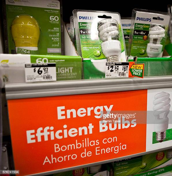 Philips brand energy efficient light bulbs are on disply at a Home Depot store in the Brooklyn borough of New York on April 8 2010