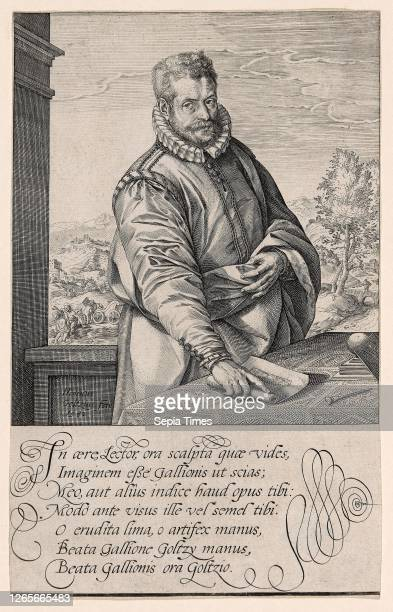 Philips Galle , Pupil of Coornhert from Haarlem, Engraver and Publisher in Antwerp from 1570, The Baptism of the Eunuch in Background Left Hendrick...