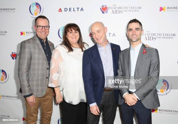 Philips McCarty Barbara Berkowitz Tim Mendelson and Quinn Tivey attend The Elizabeth Taylor AIDS Foundation and mothers2mothers dinner at Ron...