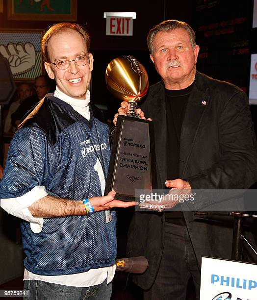"""Philips Norelco """"Ultimate Football Weekend"""" Trivia Bowl winner John Friedberg and Coach Mike Ditka attend the Philips Norelco """"Ultimate Football..."""