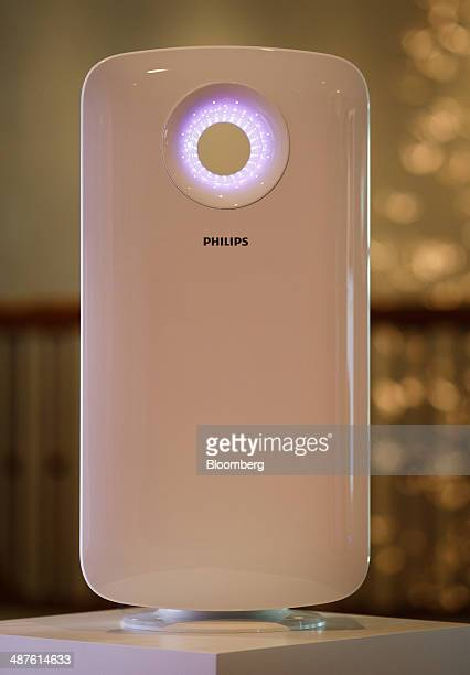 A Philips smart air purifier device manufactured by Royal Philips NV stands on display during the company's annual general meeting in Amsterdam...