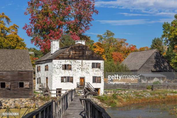 Philipsburg Manor, Blue Sky and Trees in Autumn Colors (Foliage) in Sleepy Hollow, Hudson Valley, New York.