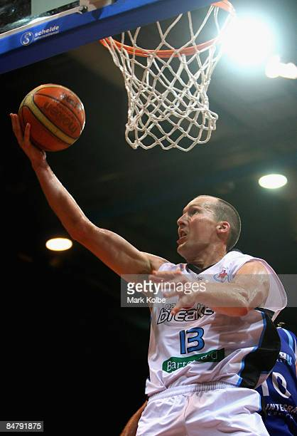 Phill Jones of the Breakers goes up for a basket during the round 22 NBL match between the Sydney Spirit and the New Zealand Breakers at the Sydney...