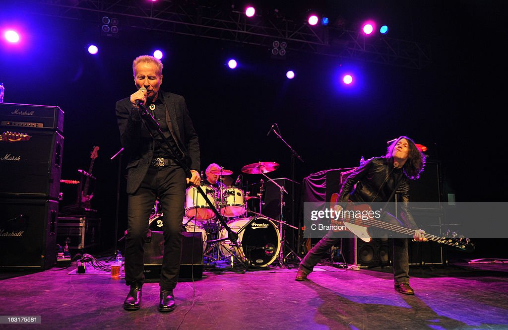 Phill Mogg, Andy Parker and Rob De Luca of UFO perform on stage at The Forum on March 5, 2013 in London, England.