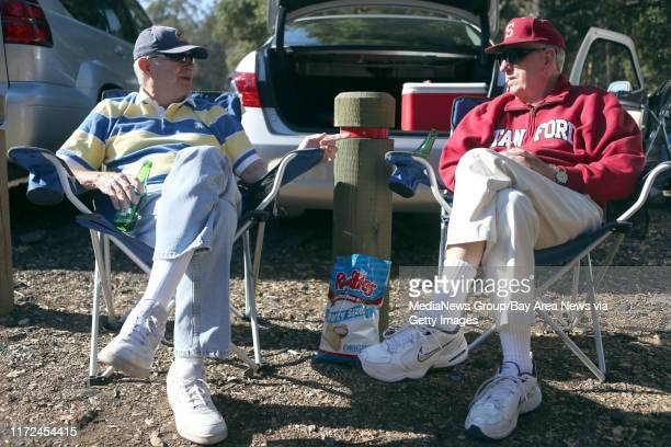 Phill Peterson and brother Chuck Peterson, from left, both alumni of University of California and Stanford tailgate before the 116th annual Big Game...