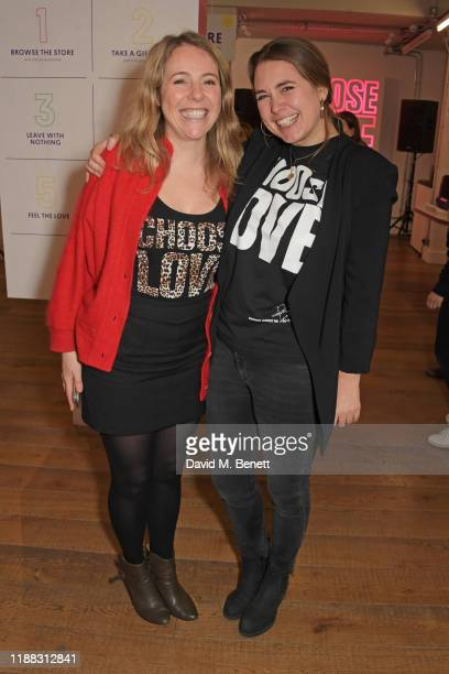 Philli Boyle and Help Refugees founder Josie Naughton volunteer during Match Fund day at the 'Choose Love' shop for Help Refugees in Covent Garden on...
