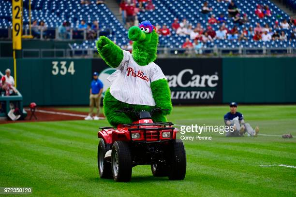 Phillie Phanatic rides an ATV before the game between the Philadelphia Phillies and the Milwaukee Brewers at Citizens Bank Park on June 8 2018 in...