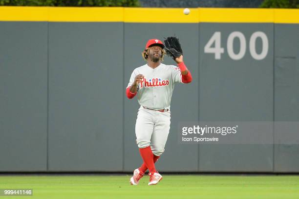 Phillies centerfielder Odubel Herrera catches a line drive during a game between the Braves and the Phillies on March 30 2018 at SunTrust Park in...