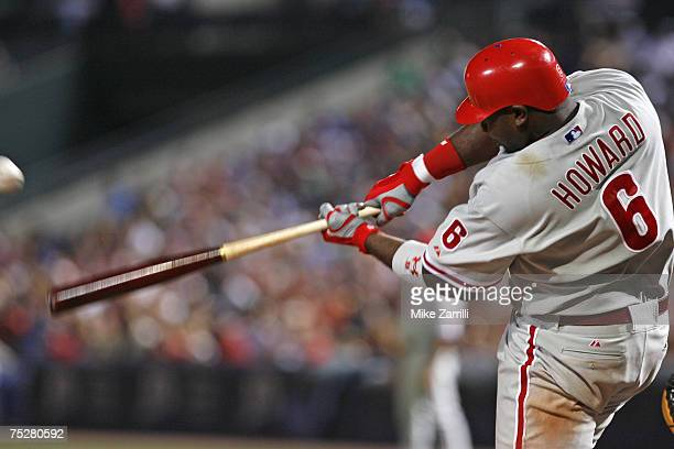 Phillies first baseman Ryan Howard hits a 2 run double in the eighth inning during the game between the Atlanta Braves and the Philadelphia Phillies...