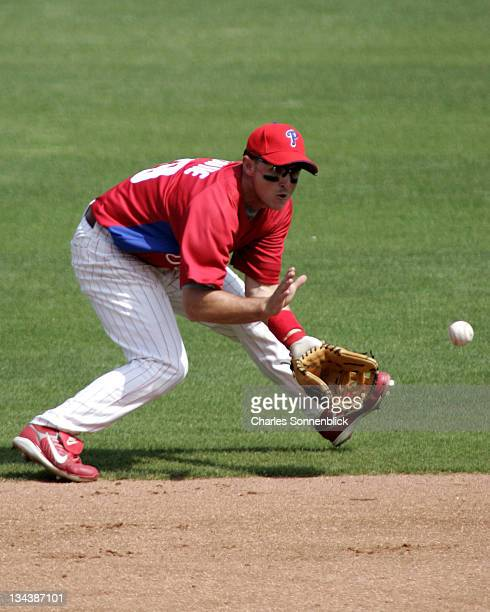 Phillies infielder Andrew Beattie fields a ground ball in a spring training game against the Red Sox on March 9, 2007 at Bright House Networks Field...