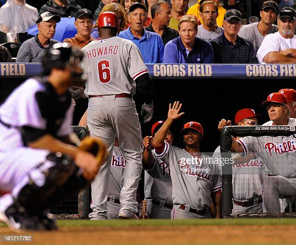 Phillies slugger Ryan Howard returned to the dugout after his second homer of the night this one in the eighth inning off Matt Lindstrom His first...