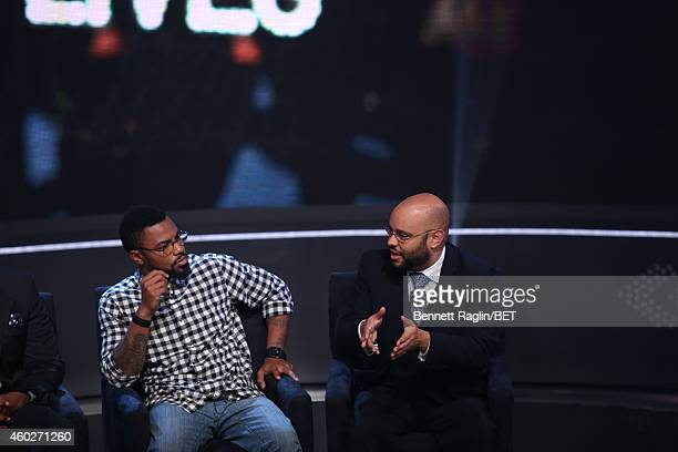 Phillip Agnew and Philip Atiba Goff attend Justice For UsBET Town Hall Live at BET studio on December 10 2014 in New York City