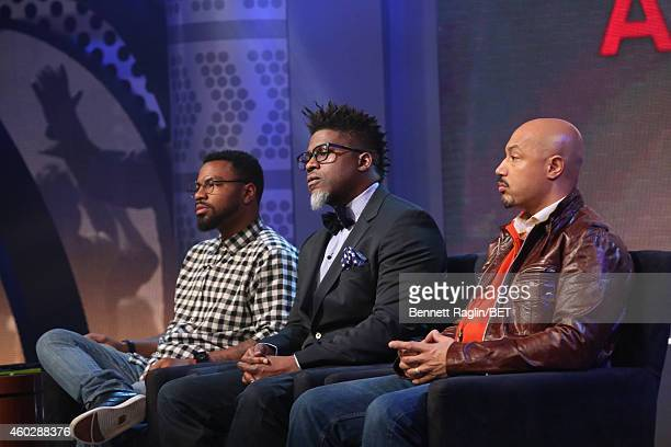 Phillip Agnew David Banner and Kristen Foy attend Justice For UsBET Town Hall Live at BET studio on December 10 2014 in New York City