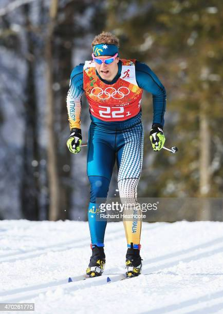 Phillip Bellingham of Australia competes in the Men's Team Sprint Classic Semifinals during day 12 of the 2014 Sochi Winter Olympics at Laura...