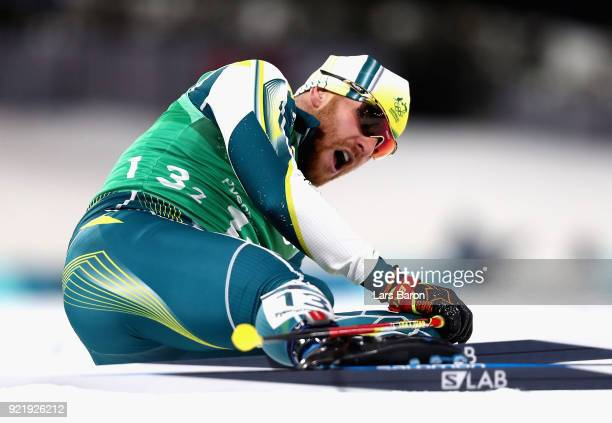 Phillip Bellingham of Australia reacts after the Cross Country Men's Team Sprint Free semi final on day 12 of the PyeongChang 2018 Winter Olympic...