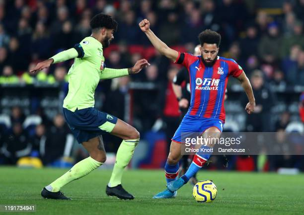 Phillip Billing of AFC Bournemouth and Andros Townsend of Crystal Palace in action during the Premier League match between Crystal Palace and AFC...