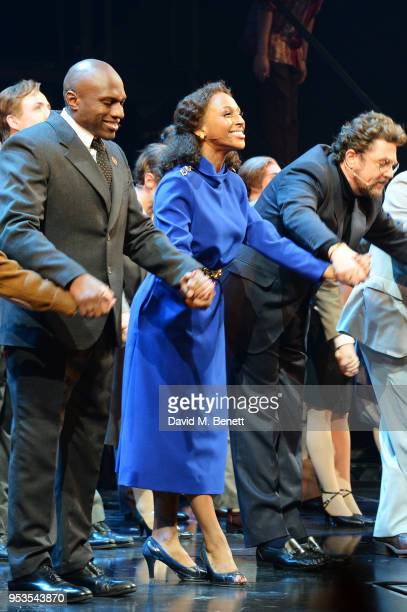 Phillip Browne Alexandra Burke and Michael Ball bow at the curtain call during the press night performance of 'Chess' at The London Coliseum on May 1...