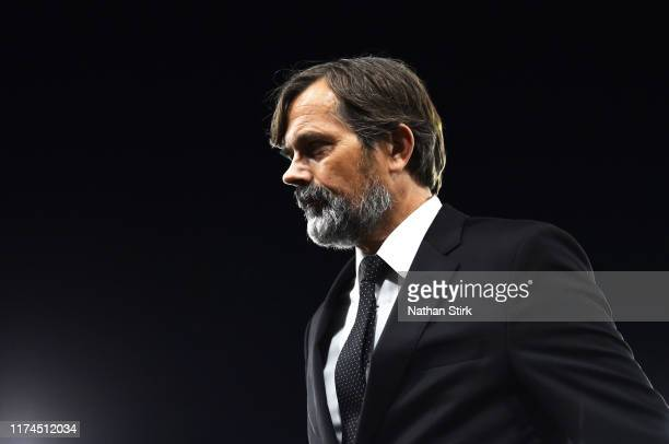 Phillip Cocu manager of Derby looks on during the Sky Bet Championship match between Derby County and Cardiff City at Pride Park Stadium on September...