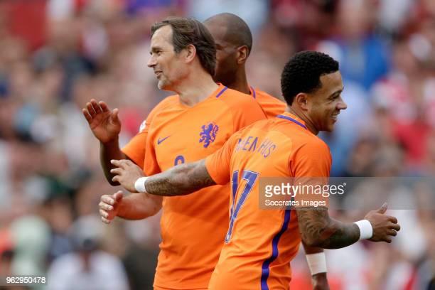 Phillip Cocu Ryan Babel Memphis Depay during the Dirk Kuyt Testimonial at the Feyenoord Stadium on May 27 2018 in Rotterdam Netherlands