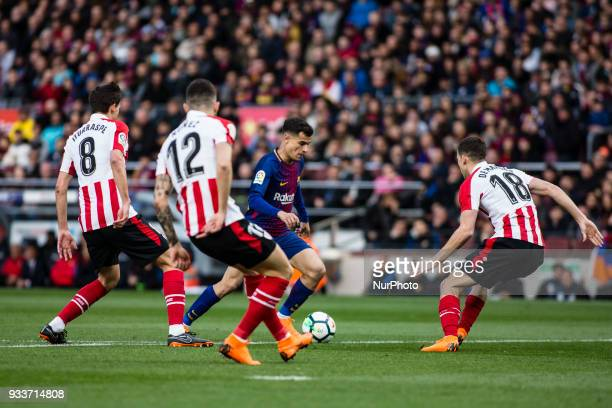 Phillip Couthino from Brasil of FC Barcelona during La Liga match between FC Barcelona v Atletic de Bilbao at Camp Nou Stadium in Barcelona on 18 of...