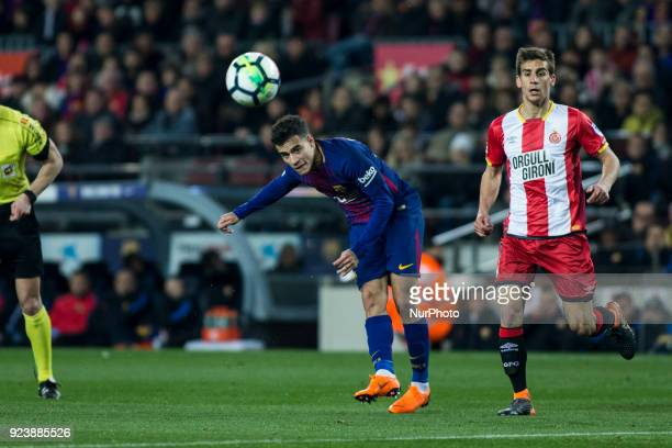 Phillip Couthino from Brasil of FC Barcelona scoring his goal during La Liga match between FC Barcelona v Girona at Camp Nou Stadium in Barcelona on...