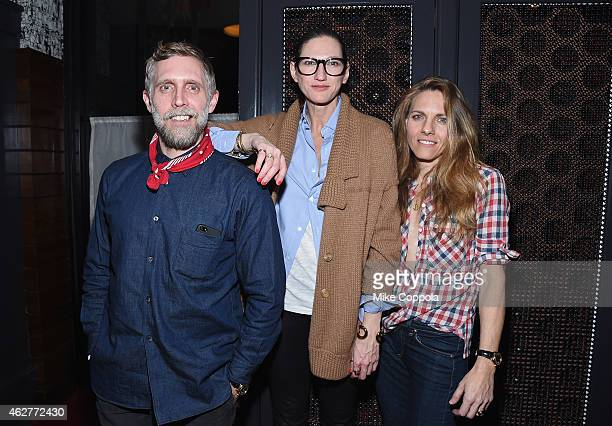Phillip Crangi Jenna Lyons and Courtney Crangi pose for a picture as Spring celebrates #SpringIntoLove at The Standard on February 4 2015 in New York...