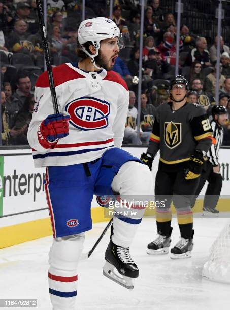 Phillip Danault of the Montreal Canadiens celebrates after scoring a first-period goal against the Vegas Golden Knights during their game at T-Mobile...