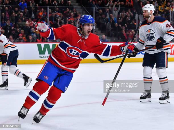 Phillip Danault of the Montreal Canadiens celebrates after scoring a goal on goalie Mike Smith of the Edmonton Oilers in the NHL game at the Bell...