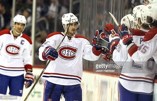 Phillip Danault of the Montreal Canadiens celebrates his second goal against the Winnipeg Jets kljlkjlkjk during NHL action on January 11 2017 at the...